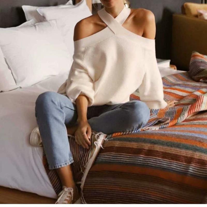 Европа и Соединенные Штаты Оптовая 2019 Winter Двухцветный Off-плечо блудниц вязать свитер Симпатичные вязать свитер Женщины