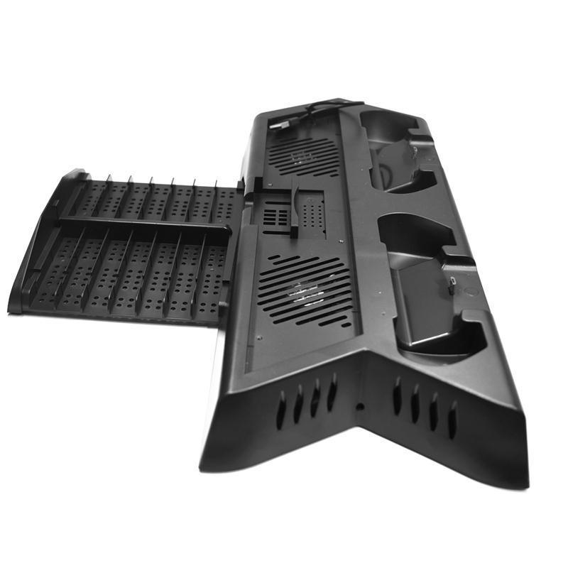 Vertical support de charge avec refroidissement contrôleur de ventilateur Chargeur Station d'accueil pour Playstation 4 PS4 Pro Console Slim disque de jeu Sièges de stockage