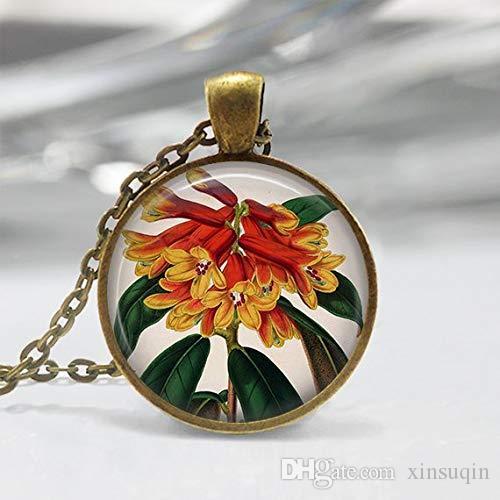 زهرة الفن قلادة، قلادة النباتية، زهرة قلادة، ومجوهرات النباتية الفن، عتيقة الفن قلادة، البرونز، الفضة، الأحمر زهور صفراء