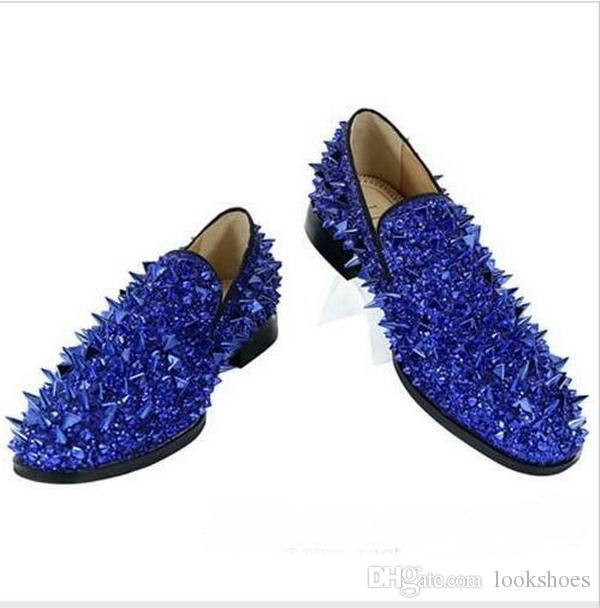 Loafers Men Glitter Spiked Shoes