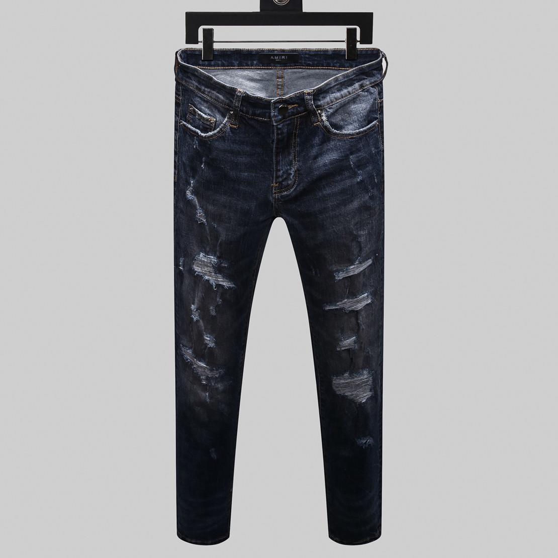 модный бренд джинсы мужчин высокого качества эластичные Letters вышивка джинсы отверстие мужчины боятся бога мыть рок стиль мотоцикла роскошные джинсы