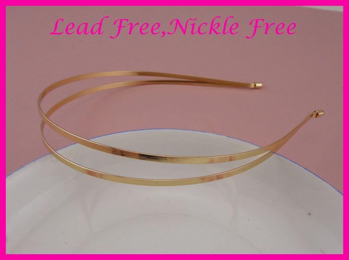5PCS 골든 일반 더블 3mm 평면 금속 와이어 머리띠 nickle 무료 및 무연, BARGAIN BULKIN