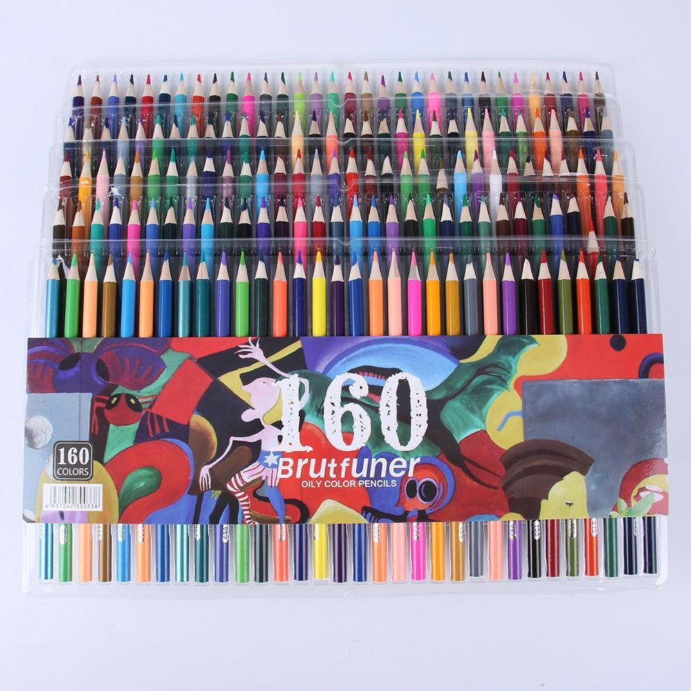 Colorful 48/72/120/160 Ink Colored Pencils Set Oil Pen for Kids School Office Drawing Painting Graffiti Color Pencils Stationery Y200428