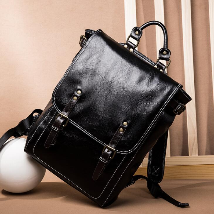 Factory wholesale men handbag new minimalist leather backpack fashion belts decorated student bags soft leather outdoor leisure backpacks