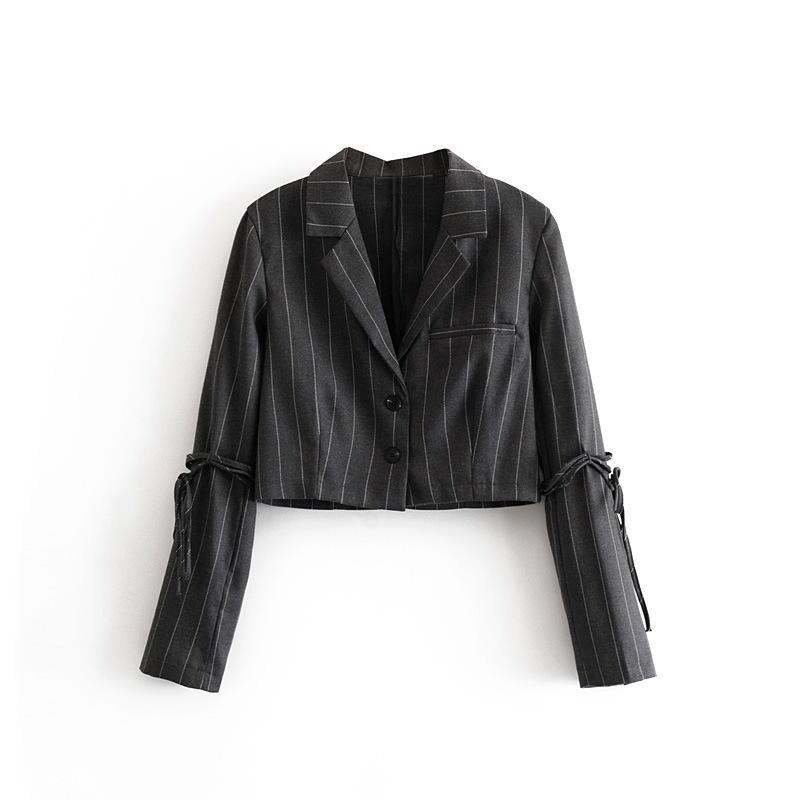 2019 tiras cortas otoño mujeres negras de tela escocesa Blazer elegante traje de señora de la oficina Ol Mujer de manga larga chaqueta elegante