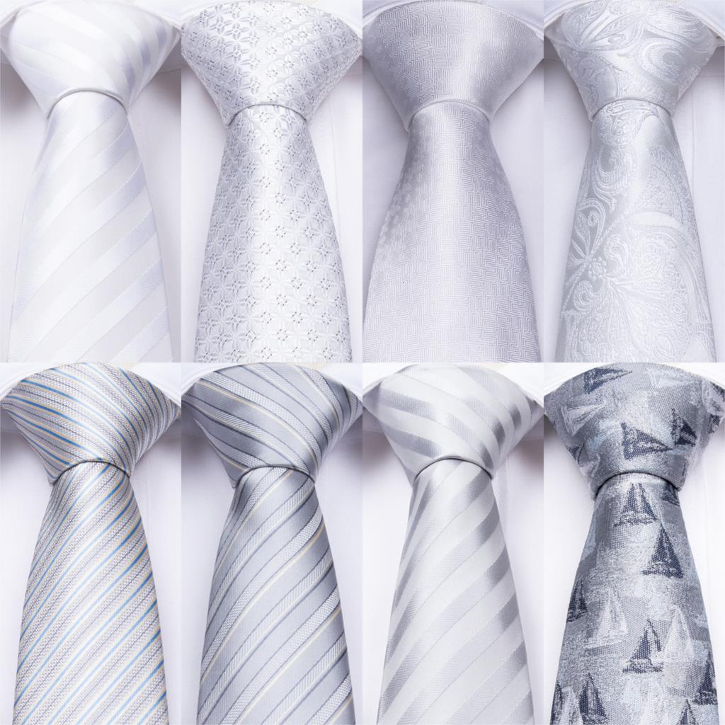 2020 디자이너 18 개 색상 화이트 은색 남성의 넥타이 손수건 커프스 단추 세트 실크 목 남성용 웨딩 파티 비즈니스 남성 타이