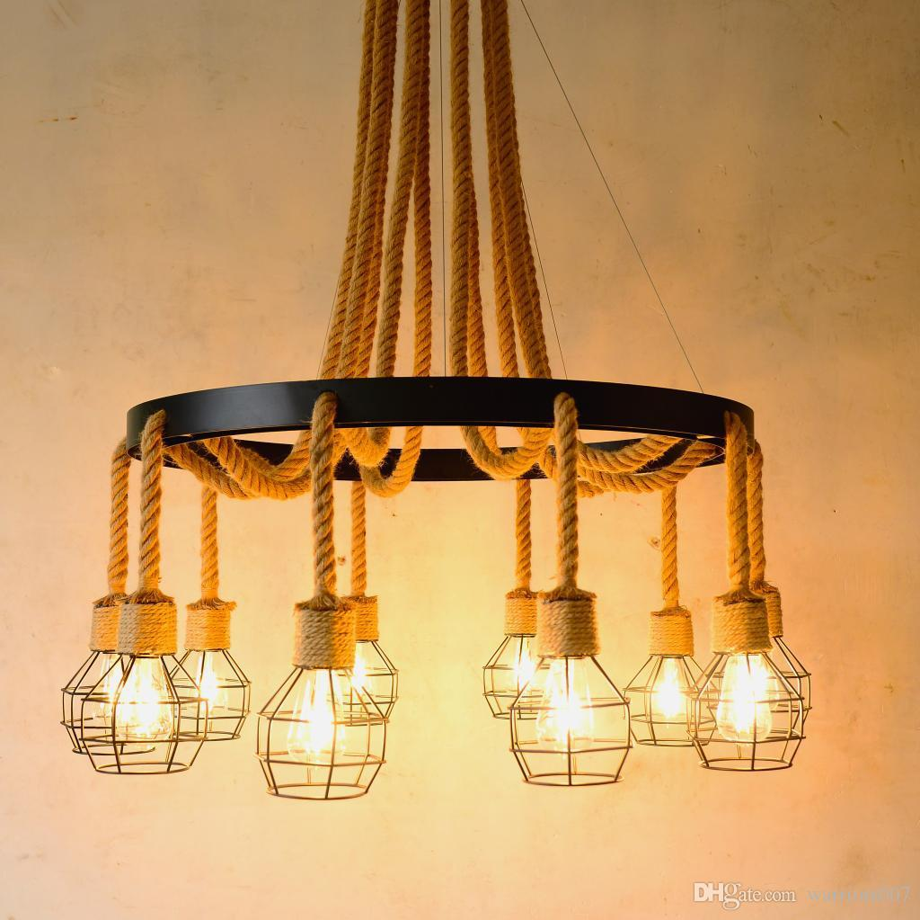 الإبداعية الشخصية خمر قلادة الصناعية الخفيفة لوفت مقهى بار مطعم القنب حبل معلق مصباح ديكور المنزل ضوء الثابت