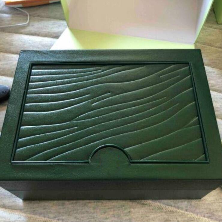 Uhrenboxen Hüllen Box Green Marke Original mit Karten und Papiere Zertifikate Handtaschen für 116610 116660 116710 Uhren
