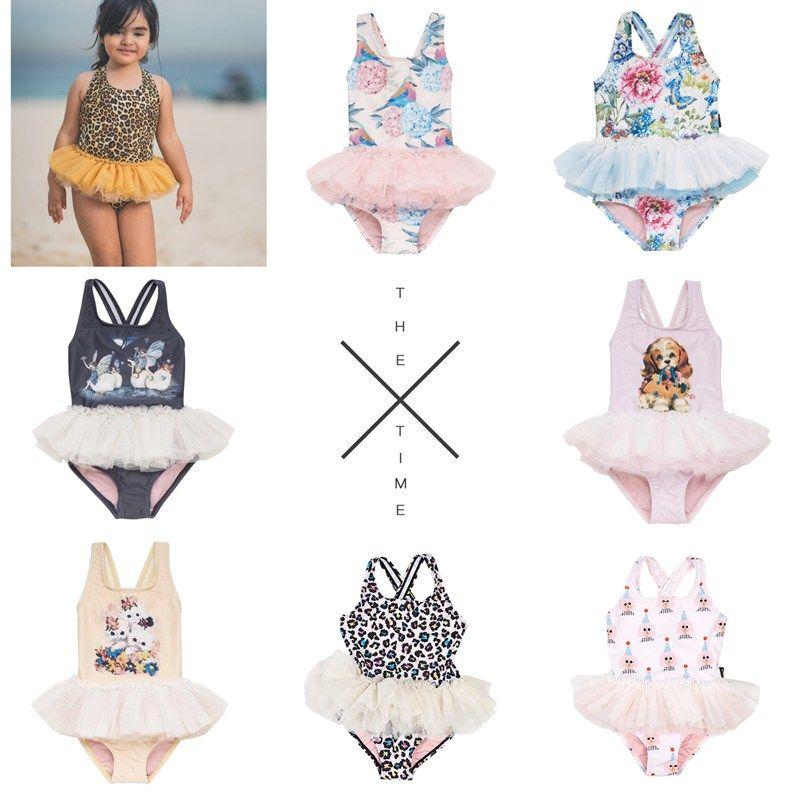 Meninas do bebê Cães Gatos Swimwear 2019 Meninas TUTU Swimsuit Crianças One Pieces Swimwear Para Meninas Para 80-140 cm