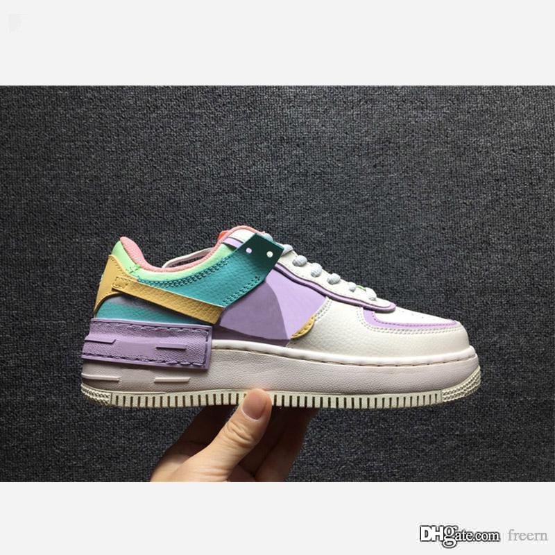 Nike Air Force 1 Shadow Pale Ivory 2020 الساخن بيع الاحذية قوات 1 الساخن الظل بالي العاج بالي Lvory السماوية الذهب مصمم الفاخرة والأحذية CI0919-101 size36-40