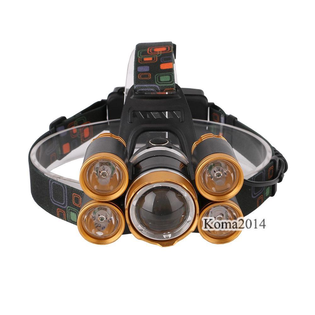 T6 XPE alliage d'aluminium + TPU or LEDs lampe frontale ouverte 18650 boîte à outils de la batterie rechargeable Head Light