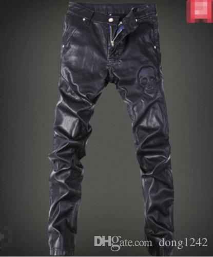 Men Slim Fit PU Leather Motorcycle Windproof Pants Nightclub Punk Velvet Casual