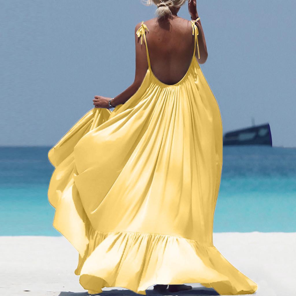 Boho макси платье женщины спагетти ремень спинки длинное летнее платье 2020 сексуальное платье богемной пляж платья Vestidos роковой MX200506