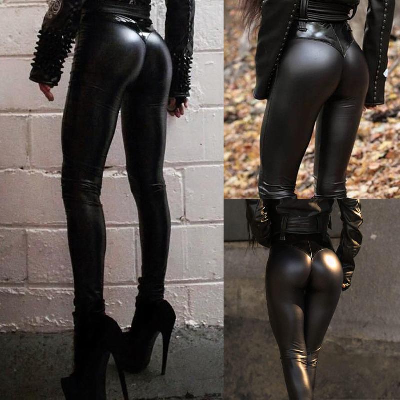 Donne di cuoio sexy nero caldo bagnato Faux Leggings Slim lucidi pantaloni stretch matita pantaloni spesso pantaloni # 35