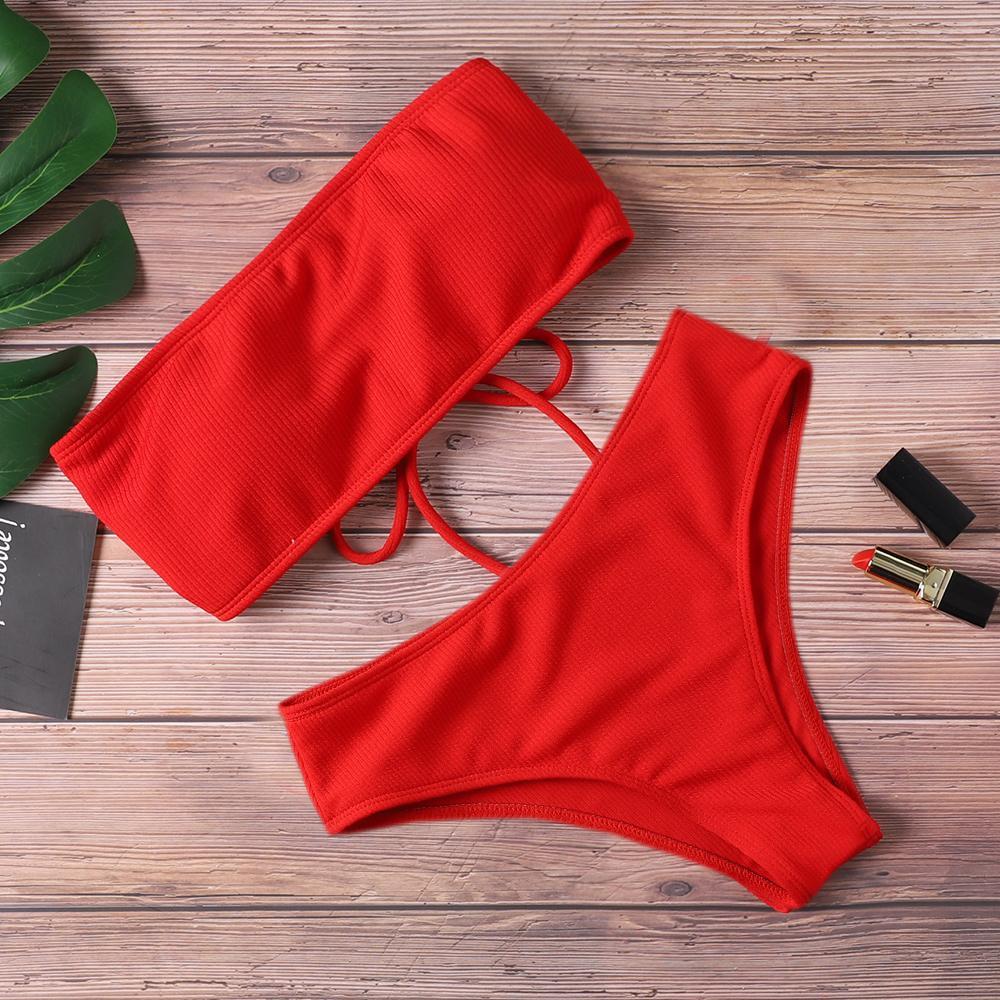 Bikini Bayan Mayo Yüksek Bel Straplez Seksi Bikini Saf Renk Kadınlar Mayo yastıklı Mayo Monokin