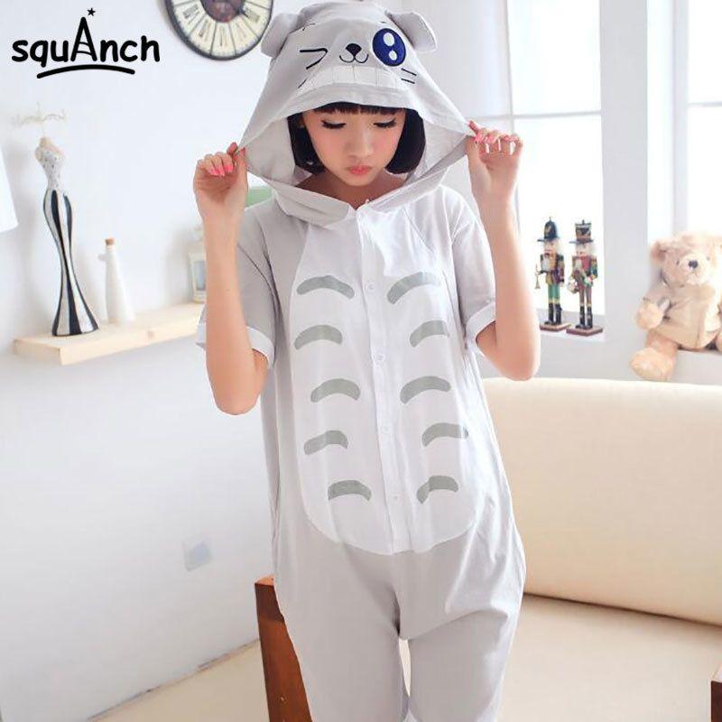 Cotton Short Sleeve Kigurumis Anime Totoro Onesie Kawaii Funny Cat Pajama Home Party Game Jumpsuit Summer Hooded SleepWear