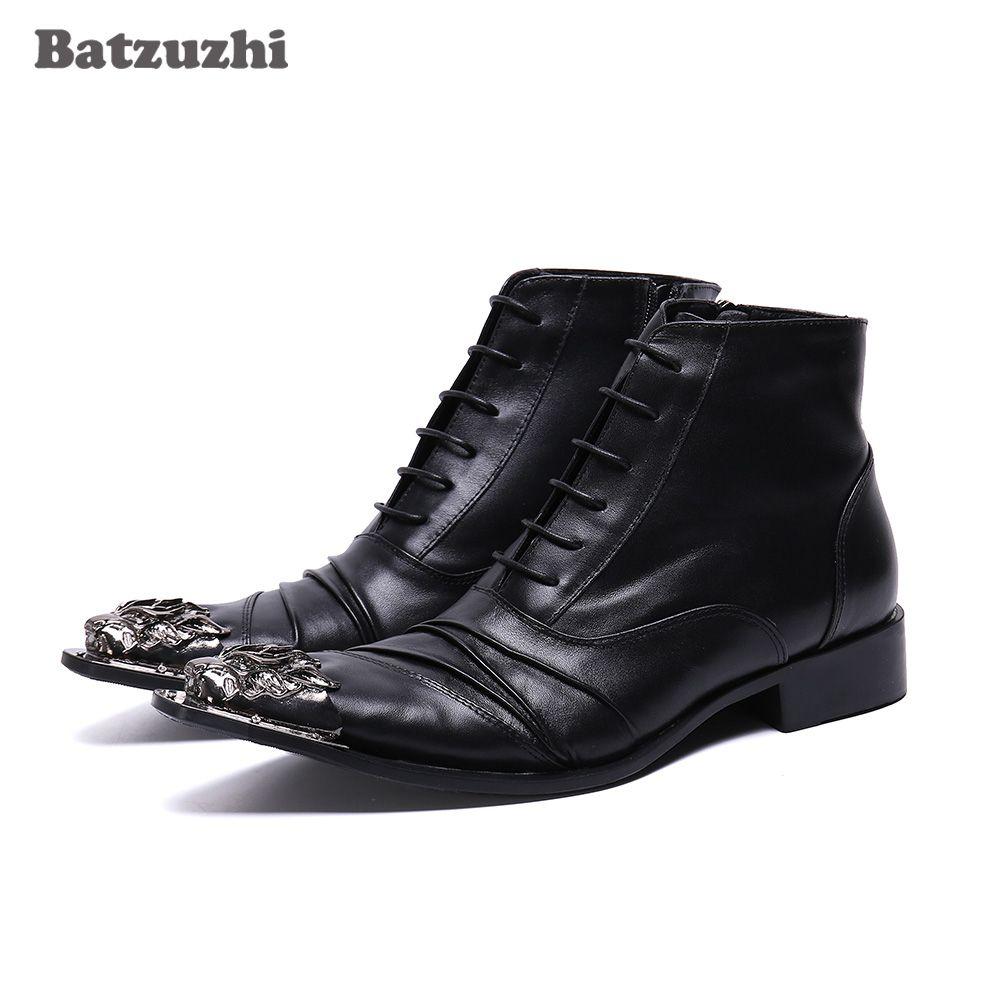 Stivaletti Lace-up Batzuzhi Tipo britannico Stivaletti uomo a punta le dita dei piedi di ferro Vera Pelle nera di affari calza gli stivali Botas hombre