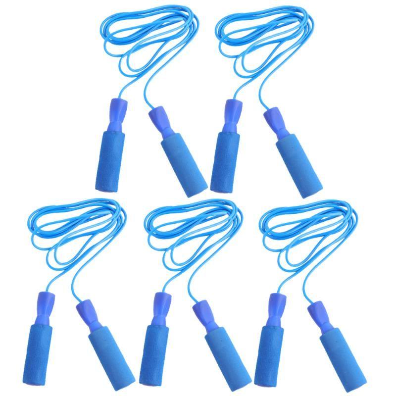 5pcs Vitesse Corde à sauter Corde à sauter réglable anti-dérapante Poignée sport Saut pour l'exercice de remise en forme (Bleu)
