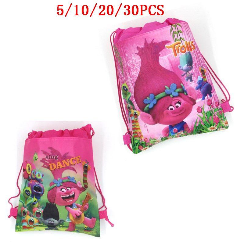 5 10 20 30 40PCS Troller Bebek Dekorasyon İpli Dokumasız Kumaş Hediyeler Çanta doğum günü partisi sırt çantası Çocuk Şekeri