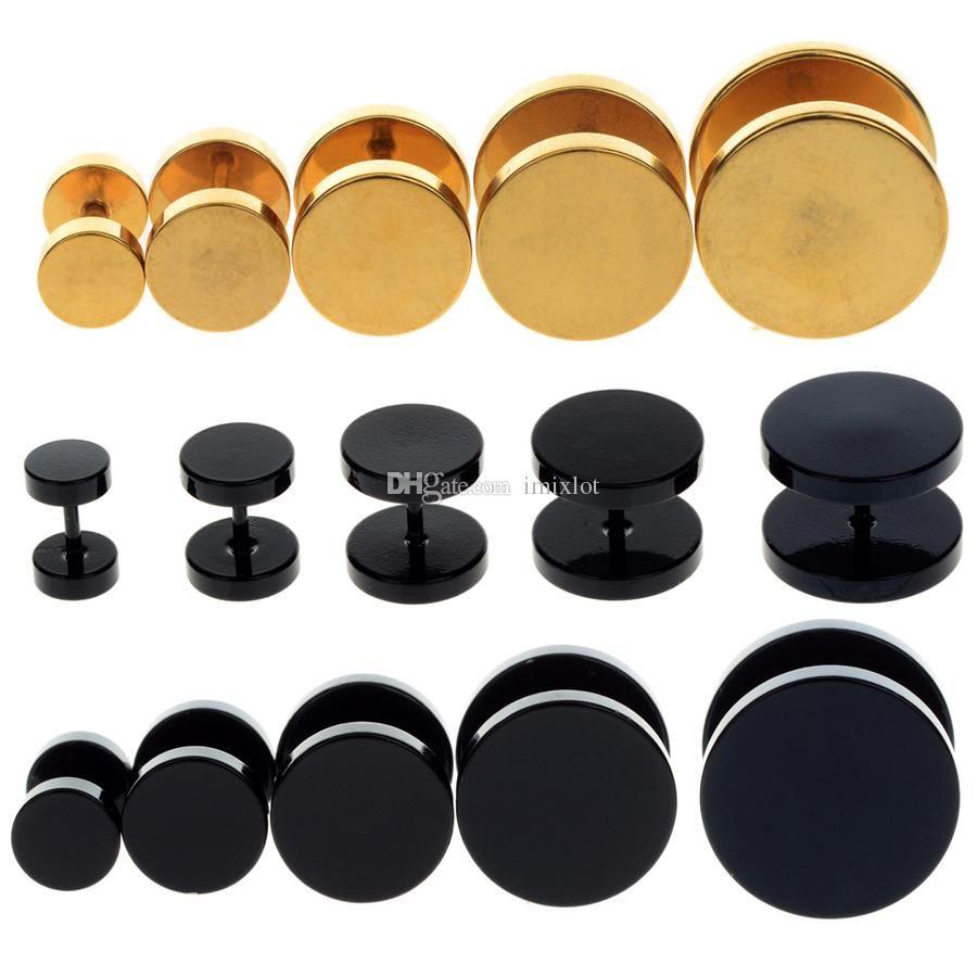 6-14 ملليمتر سدادات الأذن الأنفاق مقاييس وهمية الأذن مربط نقالة حلق ثقب الفولاذ الصلب هيئة المجوهرات 10 قطع الساخن [BB158-BB161 * 10]