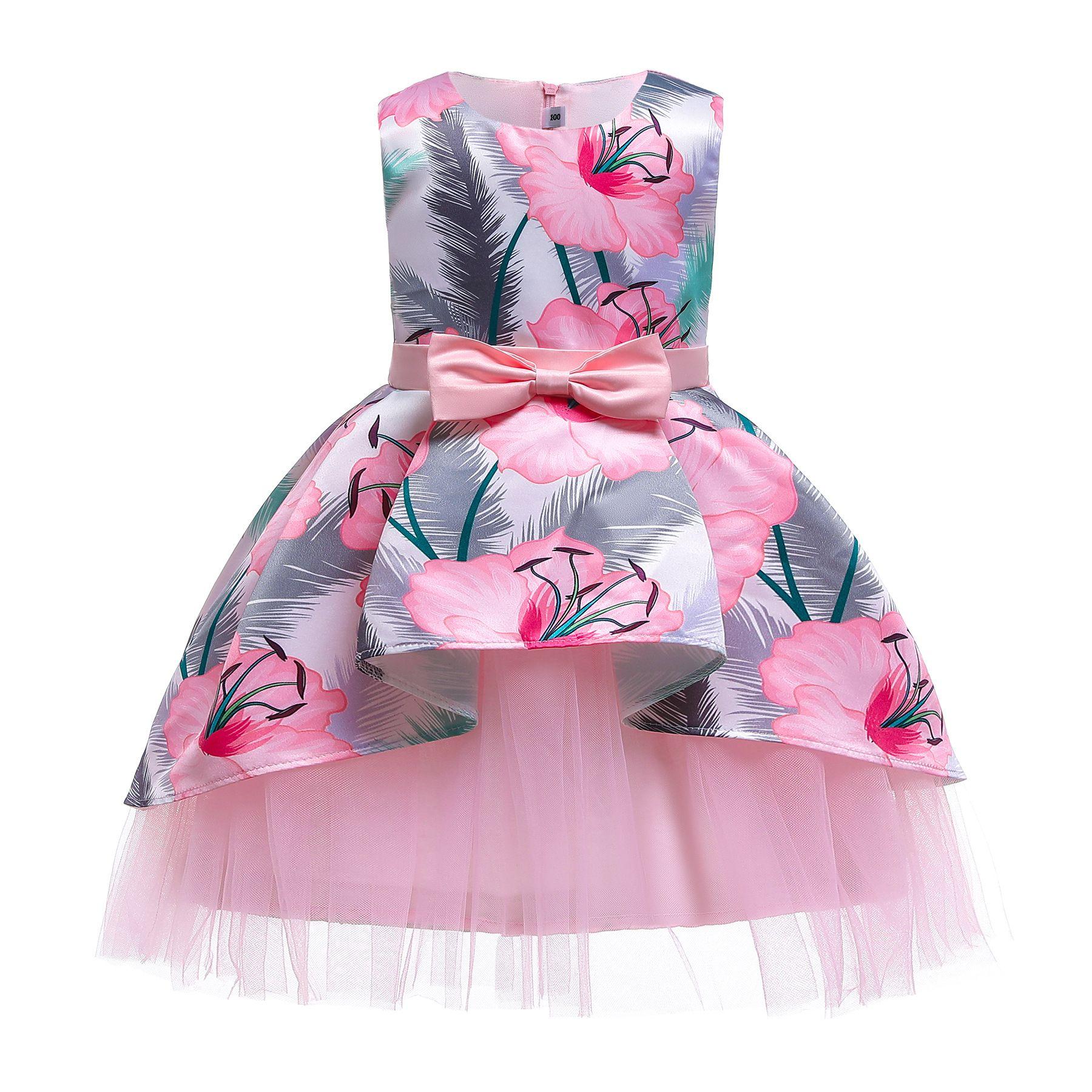 Retail Bloem Meisjes Jurken Baby Meisje Mouwloze Asymmetrische Bloemen Gedrukt Prinses Pageant Jurk Kinderen Party Formele Prom Dresses