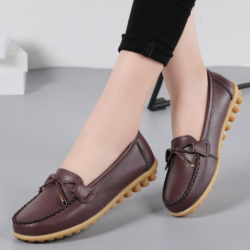 2020 Scarpe Donna Primavera Estate appartamenti delle donne i fannulloni casuali dello slip sulle calzature in cuoio signore Mocassini piatto Taglie 43