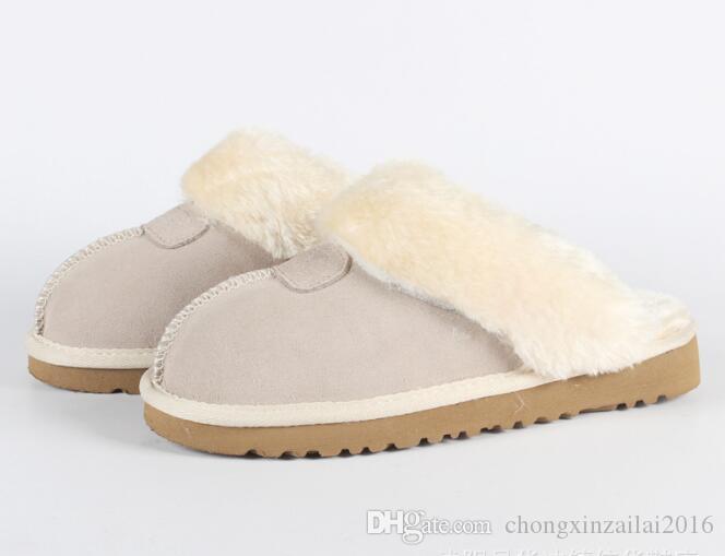 2020 горячее надувательство Австралийские классические сапоги теплые хлопка мужчин и женщин тапочки коровьей Баотоу dlippers Snow Boots Рождественский подарок размер 34-45