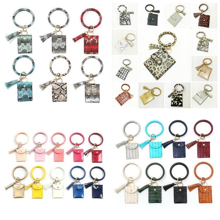 горячий браслет брелок для ключей Бумажник Leopard Кожа PU Tassel женщин карты мешок Женщины сцепления Wristlet брелоков Party Favor 4 стиль T2C5232