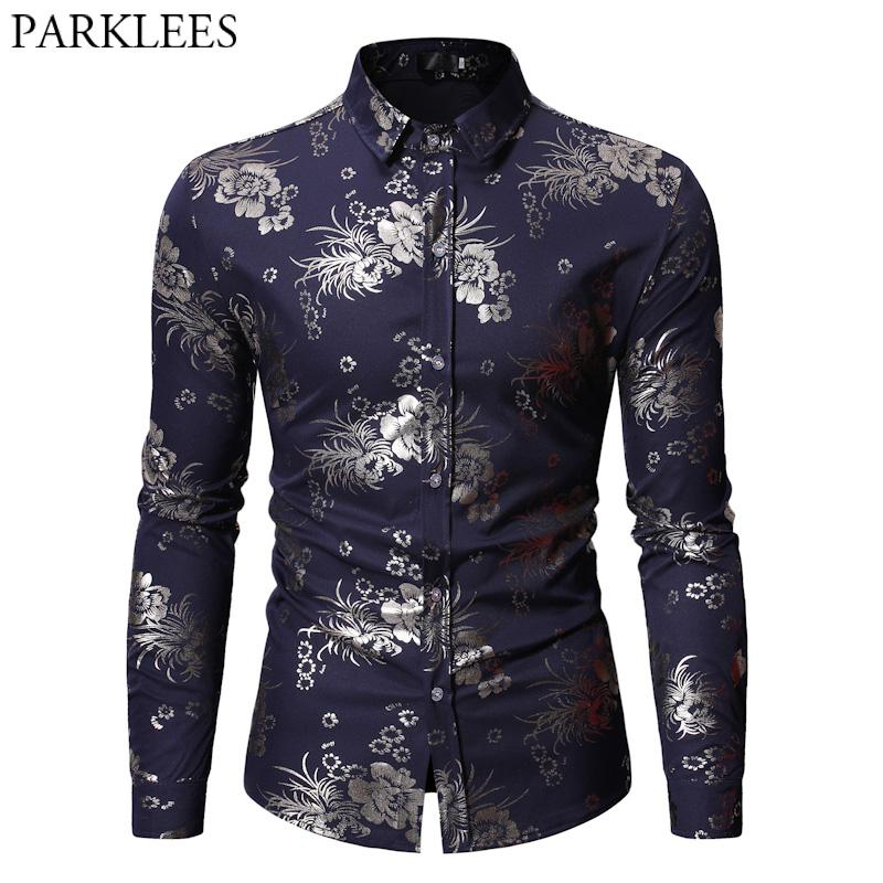 Bronzing Floral Print Shirt Men 2019 New Fashion Slim Fit Navy Blue Wedding Dress Camisas  Hipster Prom Party Chemise Homme