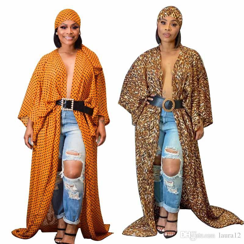 Весна осень шифон печатных женщин длинные пальто кардиган с платком мода плюс размер длинные рукава свободные длина пола пальто