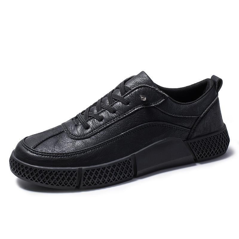 2019 nuevas zapatillas de deporte calientes hombres de la moda de cuero negro puros zapatos casuales ligera tendencia enfríen mocasines pisos