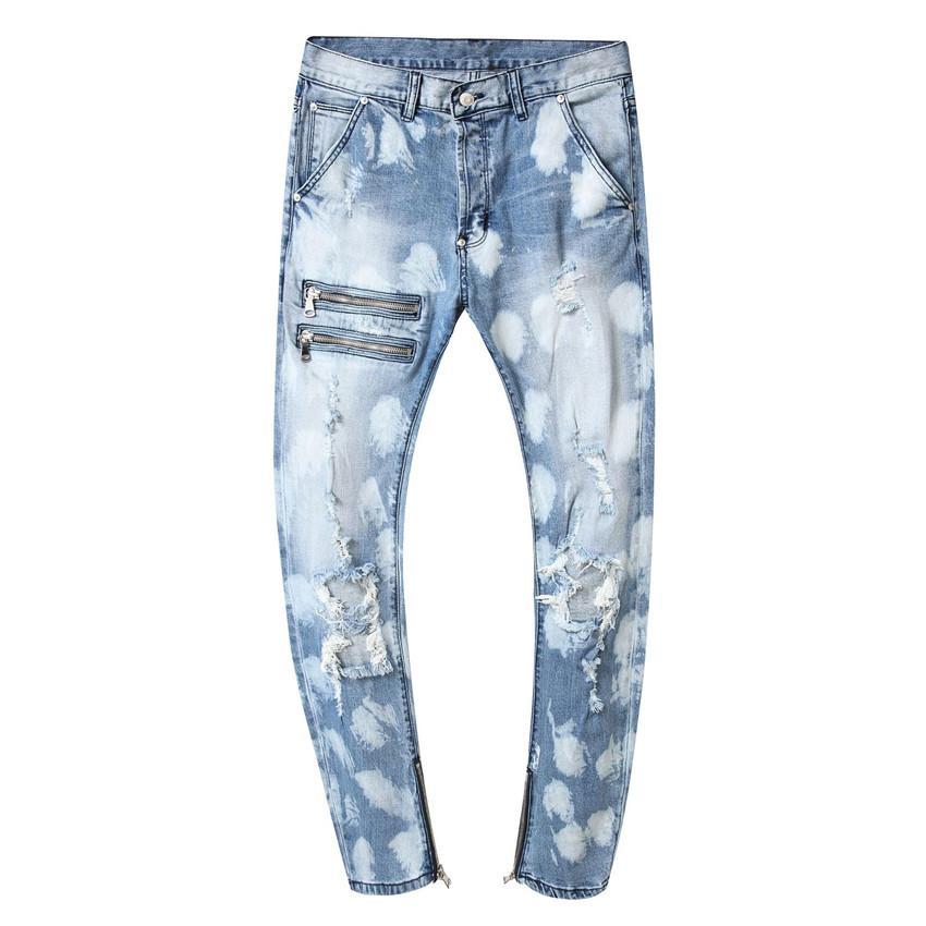 Estiramento magros Mens Jeans Buracos Designer Light Blue Homme casual jeans Plus Size Pants masculino Denim