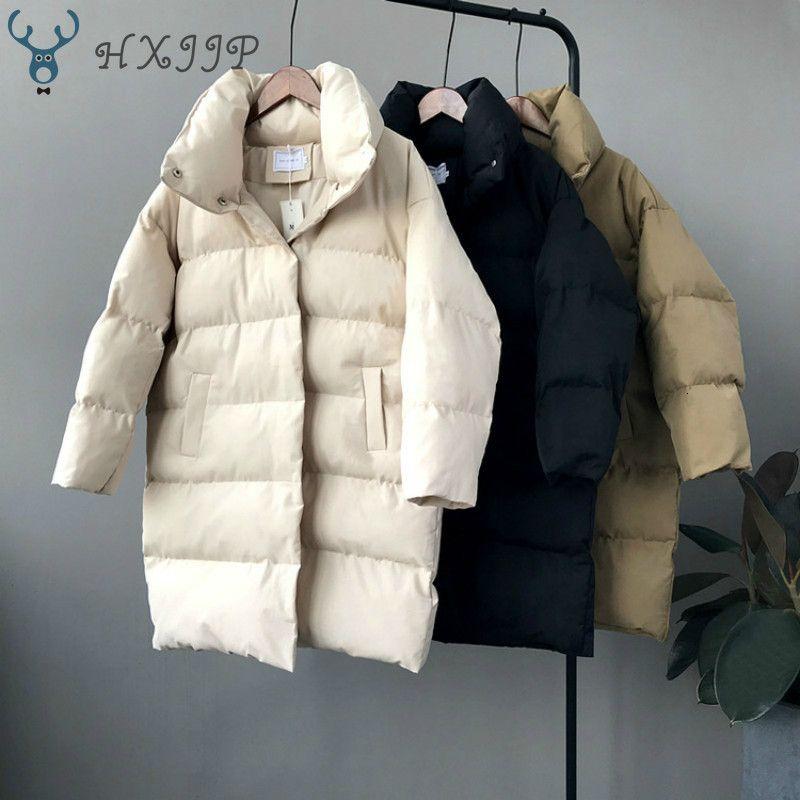 HXJJP утки вниз куртка зима женщин 2019 Верхней одежда Пальто Женщины Long Casual Теплая вниз фуга куртки Parka заклеймила T191023