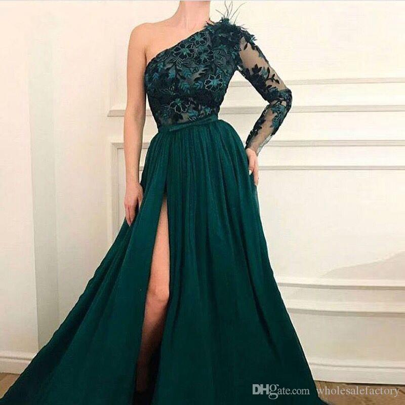 Dark Green One Shoulder High Split A Line Prom Dresses 2020 Lange mouwen Kant Applique Sweep Strain Formele Avondjurk Partyjurken