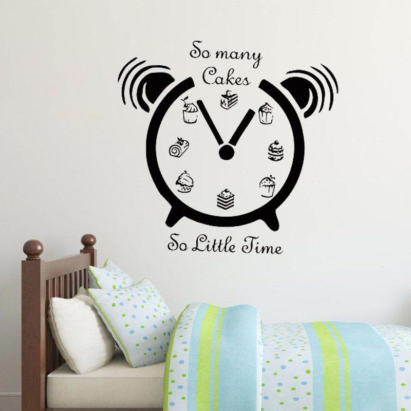 Creative Time Clock Wall Sticker So Many Cakes So Little Time Home Decor Food Wall Decals Murals For Kitchen