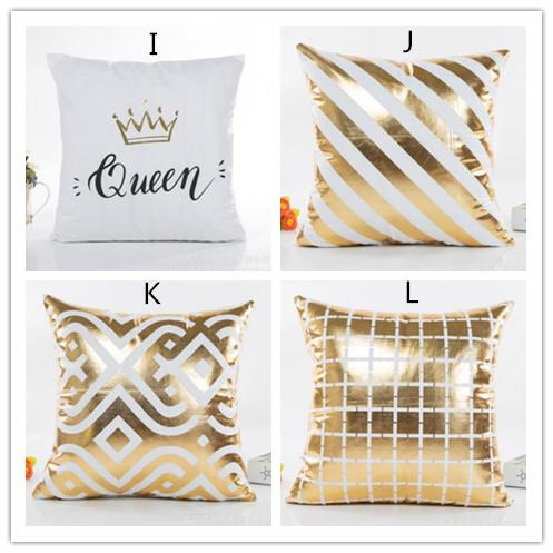 Heimtextilien Garten Hot Bronzing Kissenbezug Gold Bedruckten Kissenbezug Kissenhüllen Sofa Sitz Auto Pillowcase Weich