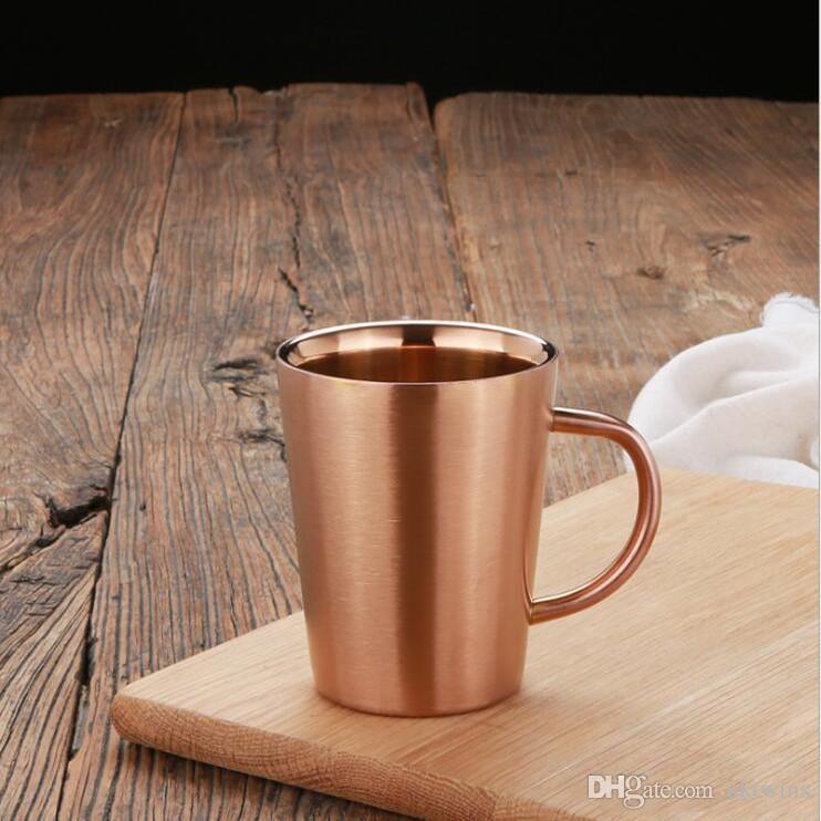 Dupla camada anti escald canecas copos de aço inoxidável com punho caneca portátil Eco amigável copo bebendo garrafa de água LXL1088-1