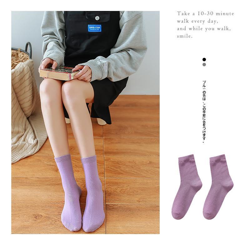 Bir Nesil Yağ Satış Çorap Tube INS Yeni Bayan Orta Buzağı Çorap Hediye Kutusu Pamuk Casual Katı Renk Çorap