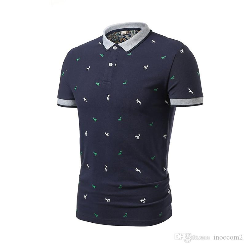 Fashion Cotton Stand Collar Tees High Quality Men's T-Shirts Cotton Animal Print Men's T-Shirts Short Sleeve Clothes 4 Colors Size M-4XL