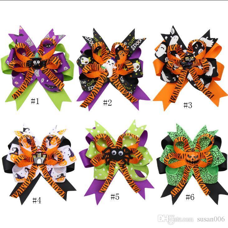 4,5 pollici Nastro per capelli per i bambini a più strati con divertenti accessori Halloween Stampa disegno del fumetto Nastro per capelli per Halloween per le vacanze