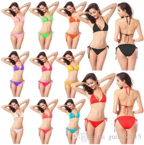 Swimmart Sexy Conjunto de Biquíni Sutiãs De Praia Swimsuit Moda Multicolor Swimwear para As Mulheres Sólida Verão Beachwear Eua Eua Por Atacado