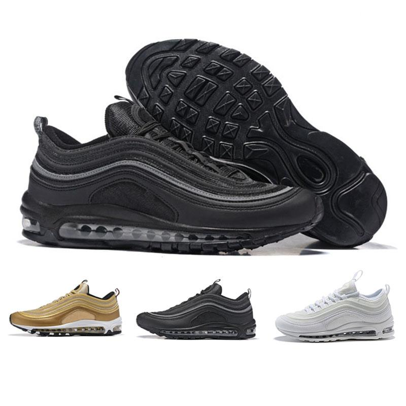 Nike Air Max 97 2018 chaussures casual balle en argent trois médailles d'or casual chaussures femmes des hommes en noir blanc taille 36-46
