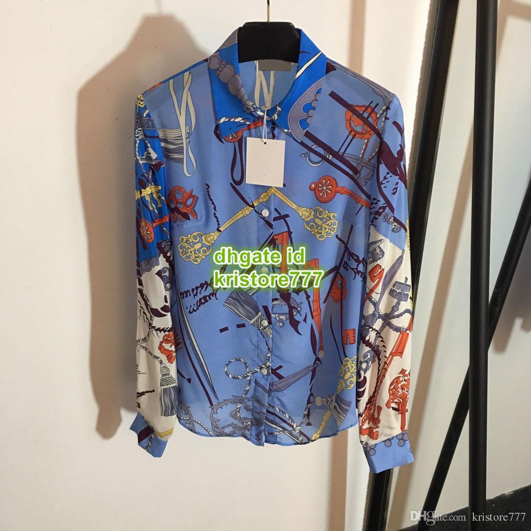 Fêmea personalizar blusa de seda s-m-l impresso moda cadeia pescoço a manga lapela luva qualidade geométrica tampa alta camisa longa maohl