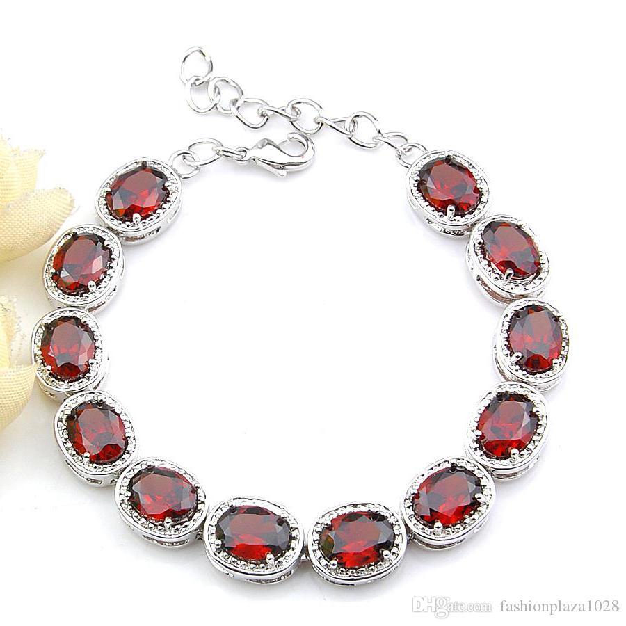 5 Pz stile dell'Europa monili registrabili regalo di natale rosso granato braccialetto in argento amanti Bracciale Cz zircone Charm Bracelet 8' pollici