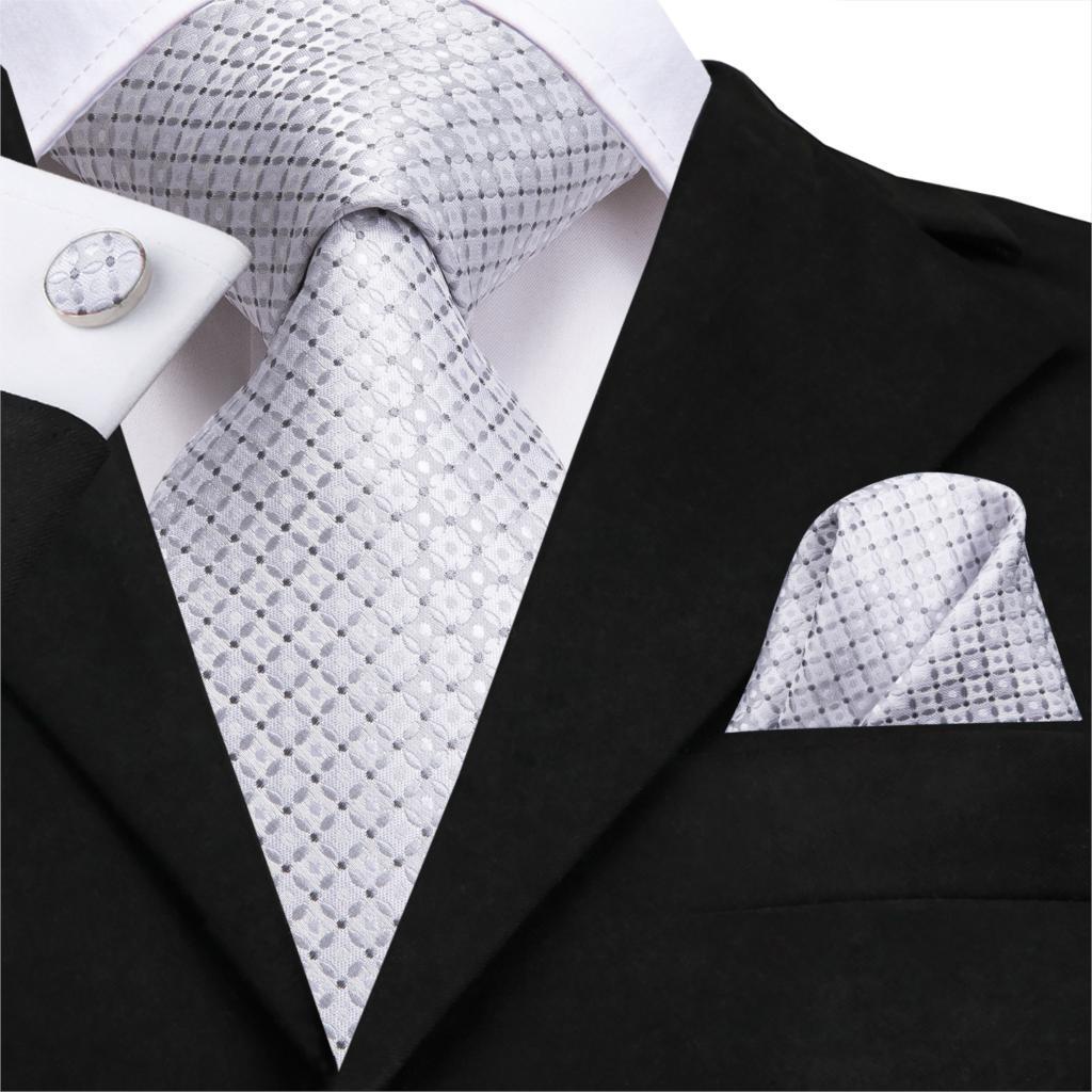 SN-3115 Hi-Tie 8.5cm 100% Silk Men's Silver Tie Striped Necktie Hanky Cufflinks Set for Men Classic Wedding Tie Set 150cm