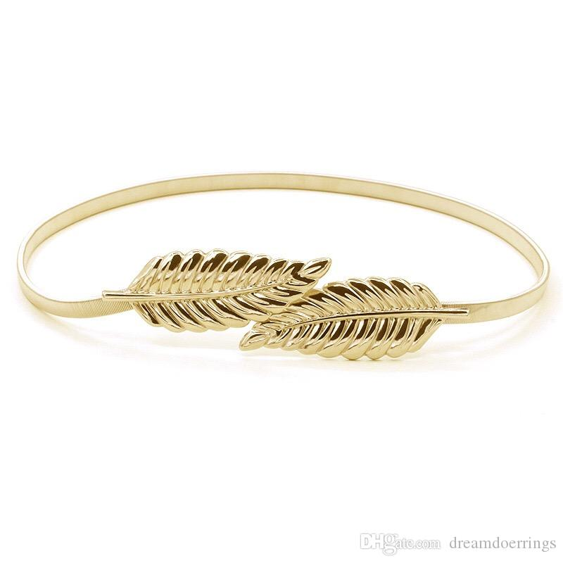 4 Options European USA Fashion Luxury All Match Leaf Shape Elastic Belt for Women Gold and Silver Color