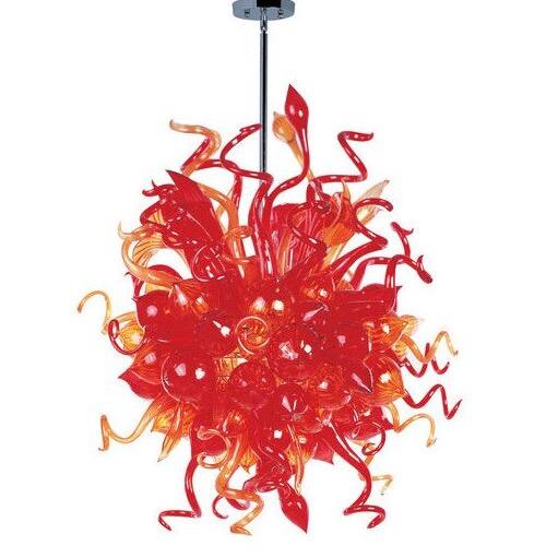 Hot Sale Colored Glass Hanging Chandeleir Pendant Light for Home Decoration Led Bulbs Style Murano Blown Glass Chandelier