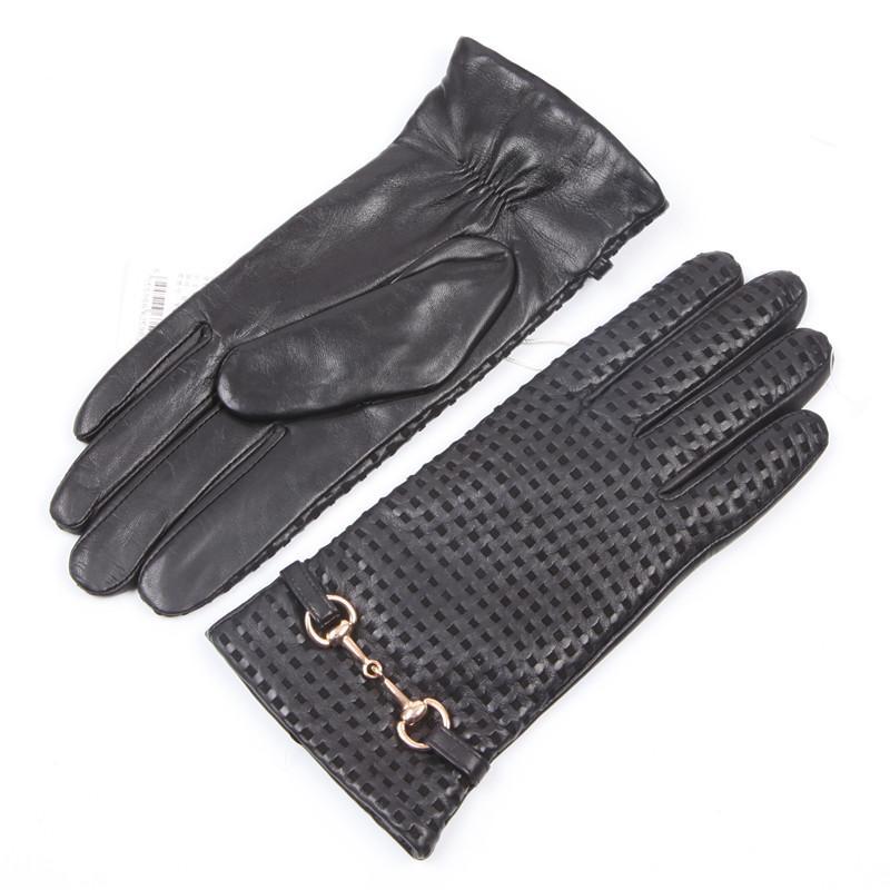 Fashion-donna Guanti in pelle vera importazione di lana di pecora foderato pulsante del metallo di modo di guida femminile Mittens EL044NZ-9