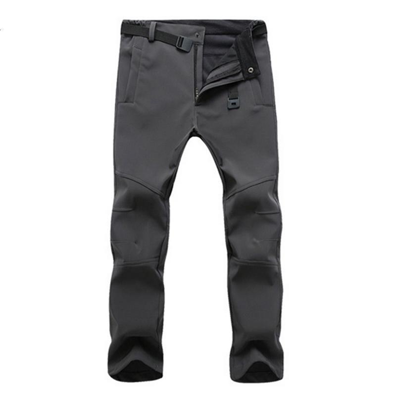 Sonbahar Kış Yürüyüş Erkek Pantolon Softshell Polar Açık Pantolon Su Geçirmez Kar Spor Pantolon Pantolon Erkek Artı Boyutu Yüksek Kalite SH190915