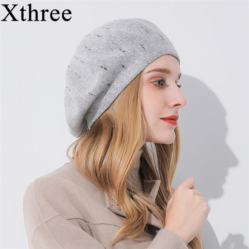 sombrero de la boina sombrero de la cachemira de las mujeres de invierno Xthree Rhinestone de punto sombrero de la boina para T200103 casquillo de la señora manera de la chica